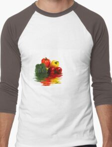 Medley of vegetables over white with water reflection Men's Baseball ¾ T-Shirt
