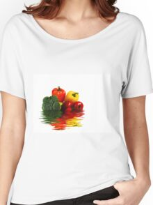 Medley of vegetables over white with water reflection Women's Relaxed Fit T-Shirt