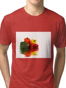 Medley of vegetables over white with water reflection Tri-blend T-Shirt