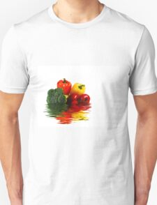 Medley of vegetables over white with water reflection T-Shirt
