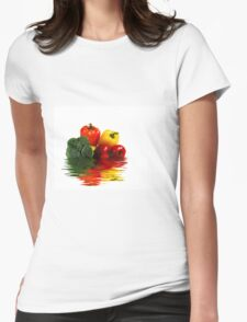 Medley of vegetables over white with water reflection Womens Fitted T-Shirt