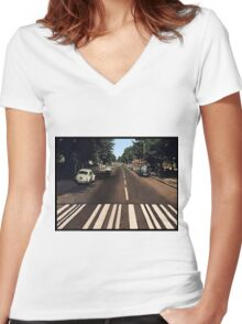 Blank Abbey road - no beatles Women's Fitted V-Neck T-Shirt