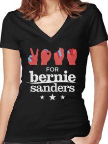 Vote Bernie - Deaf for Bernie Sanders (Sign Language) Fundraising Merchandise Women's Fitted V-Neck T-Shirt