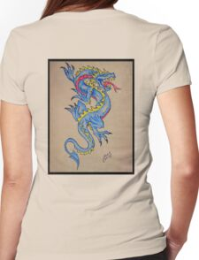 blue dragon parchment card Womens Fitted T-Shirt
