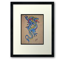 blue dragon parchment card Framed Print