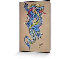 blue dragon parchment card Greeting Card