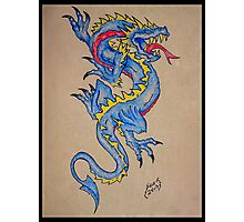 blue dragon parchment card Photographic Print