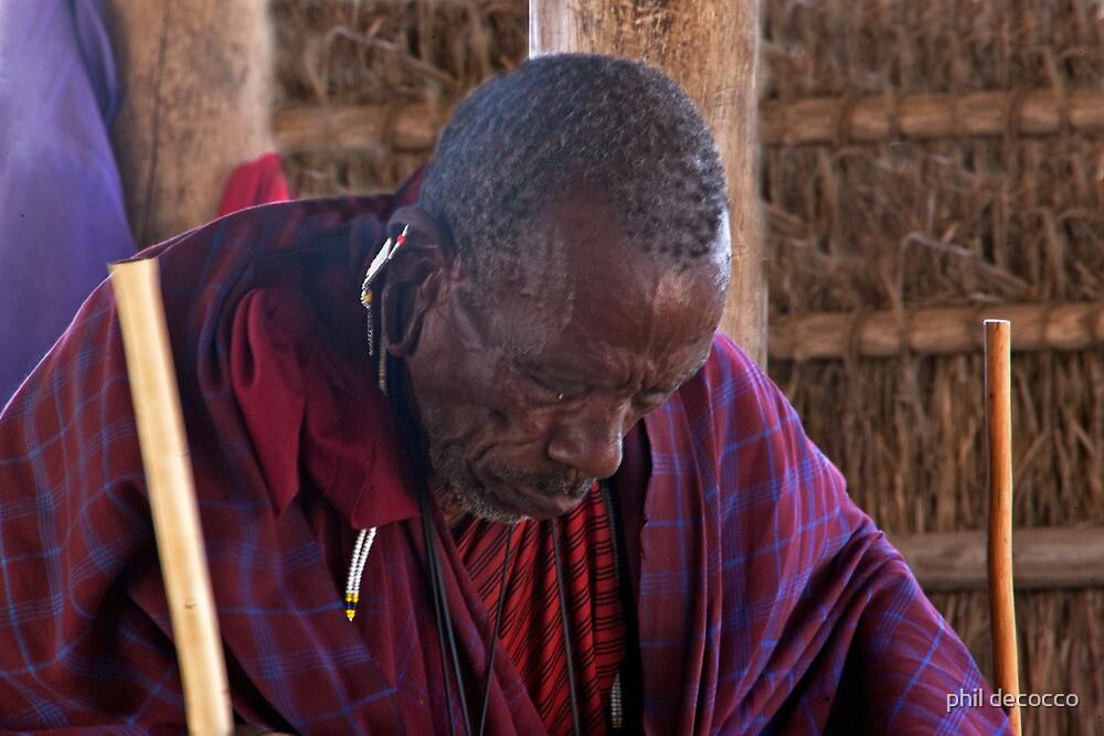 Reflective Masai Elder by phil decocco