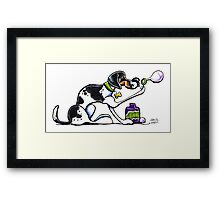 Foxhound Blowing Bubbles Framed Print