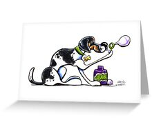 Foxhound Blowing Bubbles Greeting Card