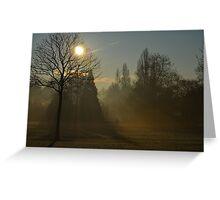 Misty morning fog, Hyde Park, London, England Greeting Card