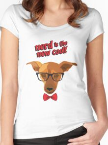 Hipster dog - Nerd is the new cool! Women's Fitted Scoop T-Shirt