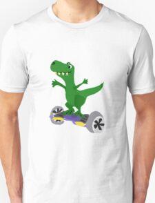 Funny Cool T-Rex Dinosaur on Motorized Skateboard T-Shirt