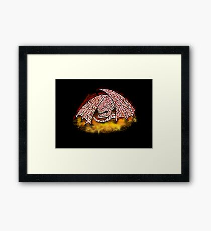 Typographic Smaug, on his pile of gold Framed Print