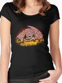 Typographic Smaug, on his pile of gold Women's Fitted Scoop T-Shirt