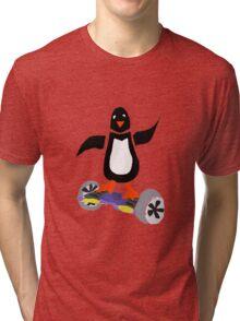 Funny Cool Penguin on Hoverboard Motorized Skateboard Tri-blend T-Shirt