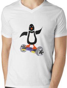 Funny Cool Penguin on Hoverboard Motorized Skateboard Mens V-Neck T-Shirt