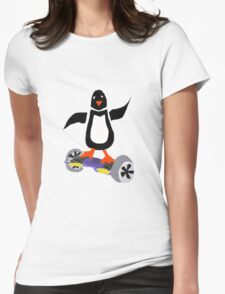 Funny Cool Penguin on Hoverboard Motorized Skateboard Womens Fitted T-Shirt