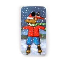 Cute Mouse on Skates with Snow Falling, Art Samsung Galaxy Case/Skin