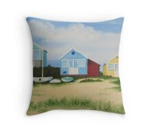 Hengistbury Beach Huts - l Throw Pillow