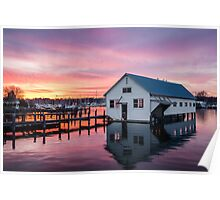 Sunset Over the Boat House Poster