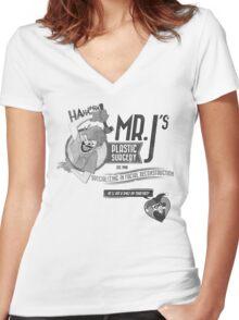 Mr. J's Plastic Surgery ( Black & White ) Women's Fitted V-Neck T-Shirt