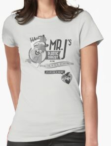 Mr. J's Plastic Surgery ( Black & White ) Womens Fitted T-Shirt