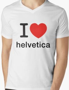 I Love Helvetica Mens V-Neck T-Shirt
