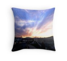 Dusk moves in over the village by the sea in Ireland Throw Pillow