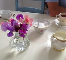 Tea time in Ireland, flowers and china by Maire Morrissey-Cummins