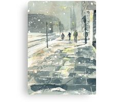 Winter Evening, Crossing Thistle Street Canvas Print
