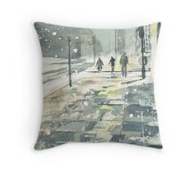Winter Evening, Crossing Thistle Street Throw Pillow