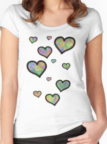 Colourful Hearts Women's Fitted Scoop T-Shirt
