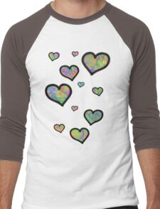 Colourful Hearts Men's Baseball ¾ T-Shirt