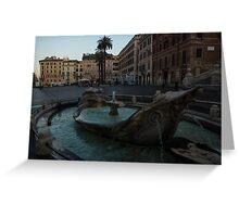 Rome's Fabulous Fountains - Fontana della Barcaccia at the Spanish Steps, Early Morning Greeting Card