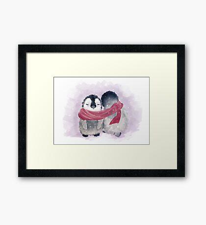 Penguin Cuddle Framed Print