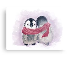 Penguin Cuddle Metal Print