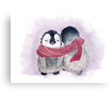 Penguin Cuddle Canvas Print
