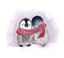 Penguin Cuddle Photographic Print