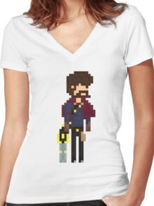 Graves, The Pixel Outlaw Women's Fitted V-Neck T-Shirt