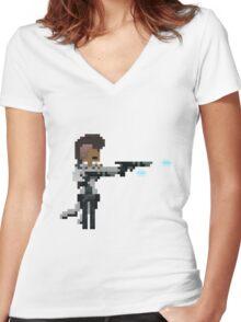 Lucian, The Pixel Purifier Women's Fitted V-Neck T-Shirt