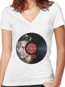 Elvis Presley Portrait Women's Fitted V-Neck T-Shirt