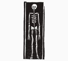 Late Medieval Woodcut of Skeleton in Coffin by Pixelchicken