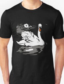 Victorian Woodcut Swan Swimming  T-Shirt