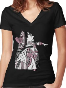 Queen of Hearts Alice in Wonderland Women's Fitted V-Neck T-Shirt