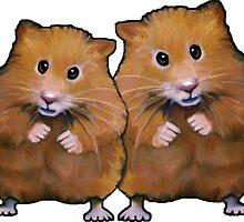 Hamster Couple, Cute Whimsical Art, Two Hamsters by Joyce Geleynse