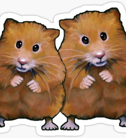 Hamster Couple, Cute Whimsical Art, Two Hamsters Sticker