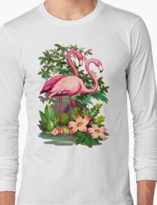 Retro Pink Flamingos Long Sleeve T-Shirt