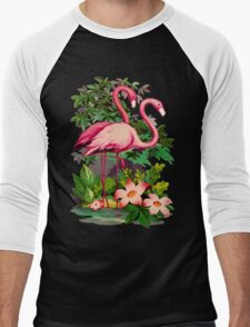 Retro Pink Flamingos Men's Baseball ¾ T-Shirt