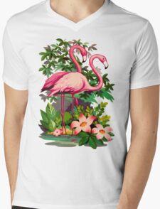 Retro Pink Flamingos Mens V-Neck T-Shirt